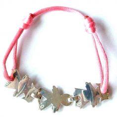 Bracelet cordon 3 enfants 17 mm (argent 925°)