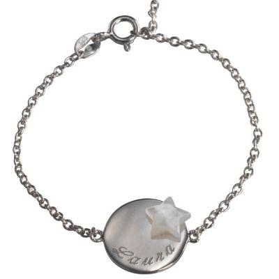 Bracelet Lovely médaille étoile (argent 925° et nacre)  par Petits trésors