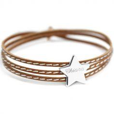 Bracelet cuir maman Amazone étoile (argent 925°)