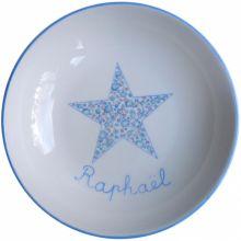 Assiette creuse Etoile bleue Liberty personnalisable  par Laetitia Socirat