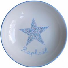 Assiette creuse Etoile bleue Liberty personnalisable