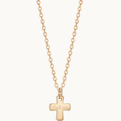 Collier Croix sur chaîne personnalisable (plaqué or)  par Merci Maman