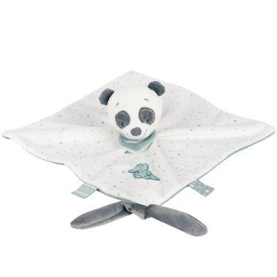 Doudou plat attache sucette panda Loulou (28 x 28 cm) Nattou