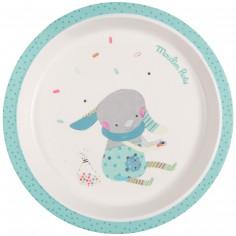 Assiette plate bleue Les jolis trop beaux