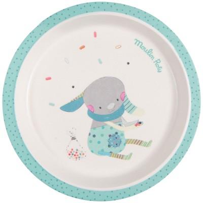 Assiette plate bleue Les jolis trop beaux  par Moulin Roty