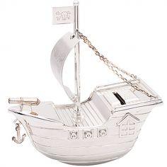 Tirelire Bateau de pirates personnalisable (métal argenté)