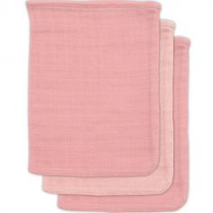 Lot de 3 gants de toilette en bambou rose