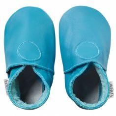 Chaussons bébé cuir Soft soles turquoise (3-9 mois)