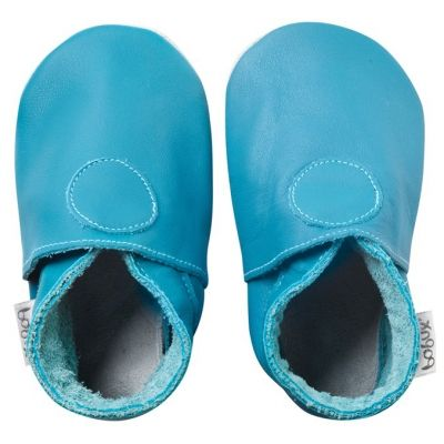Chaussons bébé cuir Soft soles turquoise (3-9 mois)  par Bobux
