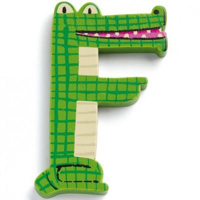 Lettre F en bois Crocodile Achille  par Djeco