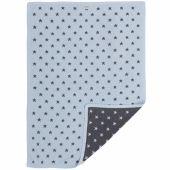 Couverture jacquard Poudre d'étoiles gris foncé et bleu (75 x 100 cm) - Noukie's