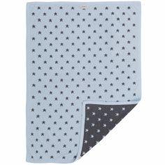Couverture jacquard Poudre d'étoiles gris foncé et bleu (75 x 100 cm)