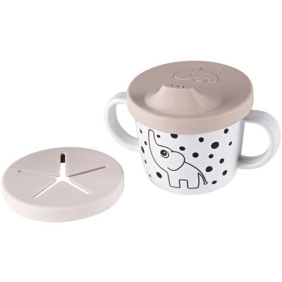 Tasse à bec 2 en 1 Happy Dots rose (230 ml)  par Done by Deer