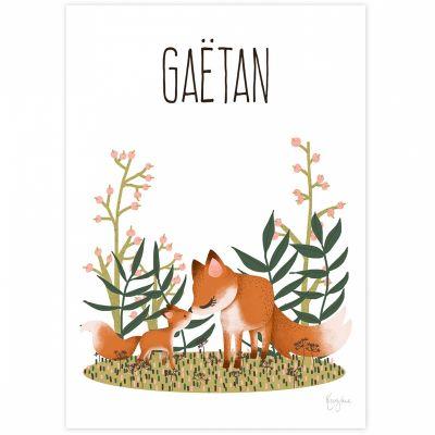 Affiche A4 Maman renard et son petit (personnalisable)  par Kanzilue