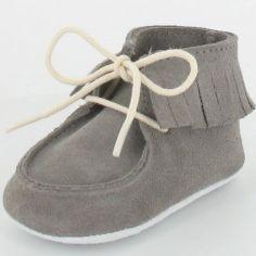 Chaussons bébé Dolmen en croûte de velours gris (6-12 mois)