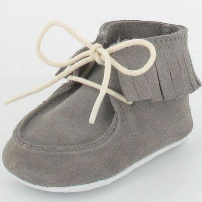 Chaussons bébé Dolmen en croûte de velours gris (6-12 mois) Le Petit Fils du cordonnier