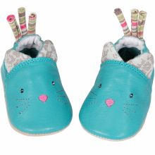 Chaussons cuir chat Les Pachats (0-6 mois)  par Moulin Roty