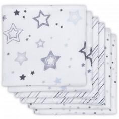 Lot de 6 langes Stardust étoile grise (70 x 70 cm)