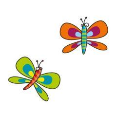 Stickers 2 papillons orange et vert