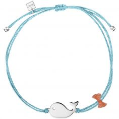 Bracelet cordon bleu Mini Coquine baleine (argent 925°)