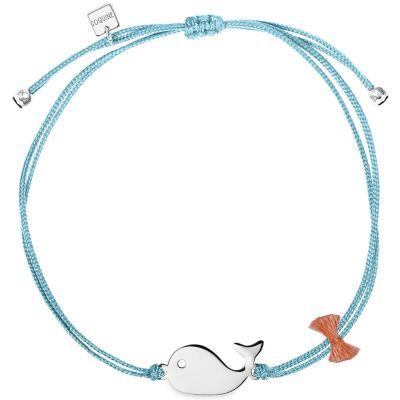 Bracelet cordon bleu Mini Coquine baleine (argent 925°)  par Coquine