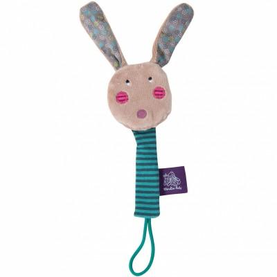 Attache sucette lapin Les jolis pas beaux  par Moulin Roty