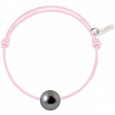Bracelet bébé Baby Pearly cordon baby rose perle de Tahiti 7mm (or blanc 750°)  par Claverin