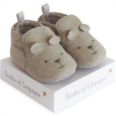 Chaussons lapin gris (0-6 mois)