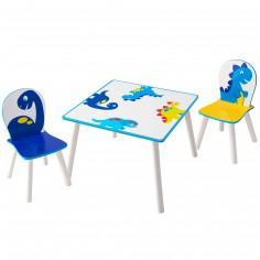Ensemble table et 2 chaises Dinosaures