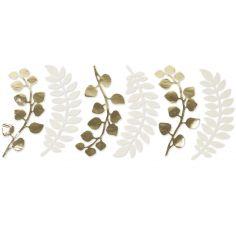Lot de 6 décorations fougère et eucalyptus blanc et doré