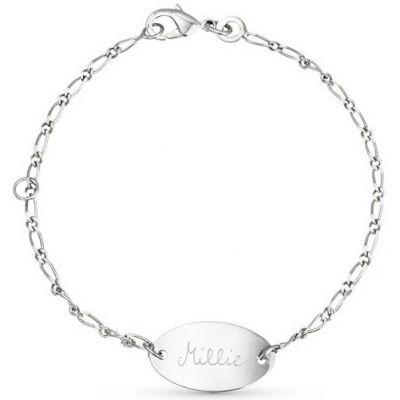 Bracelet Identity ovale sur chaîne personnalisable (argent 925°) Merci Maman