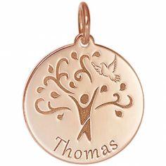 Médaille de naissance Thomas personnalisable 17 mm (or rose 750°)