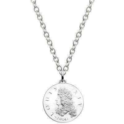 Collier chaîne 80 cm médaille Louis XIV 37 mm recto verso (argent rhodié 900°)  par Monnaie de Paris