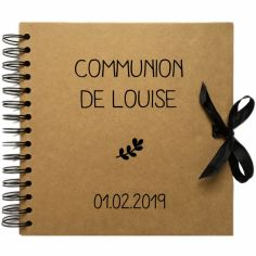 Album photo communion personnalisable kraft et noir (20 x 20 cm)
