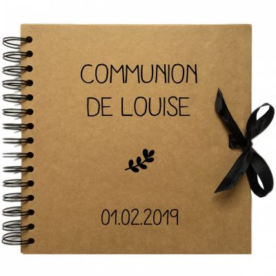Album photo communion personnalisable kraft et noir (20 x 20 cm)  par Les Griottes