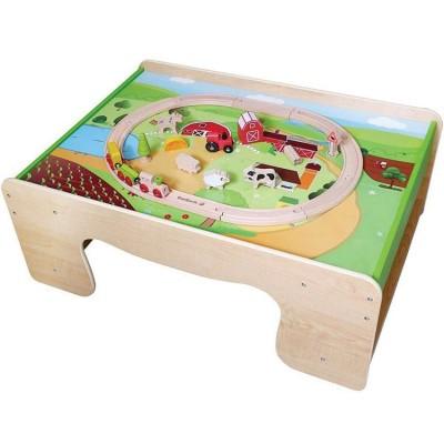 Table petit train en bois avec kit ferme  par EverEarth
