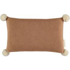 Coussin tricoté à pompons marron So Natural (22 x 35 cm)