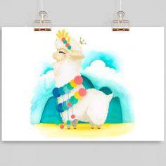 Affiche A4 Lama blanc (personnalisable)
