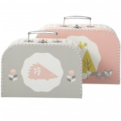 Lot de 2 valisettes décoratives Renard rose