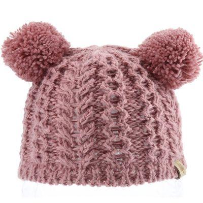 Bonnet en tricot 2 pompons vieux rose (0-6 mois)