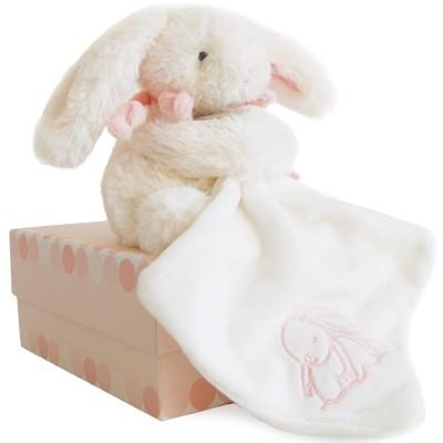 Coffret peluche Mon tout petit Lapin Bonbon rose et doudou (18 cm) Doudou et Compagnie