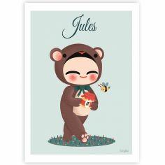 Carte A5 Les adorables costumés L'ours (personnalisable)