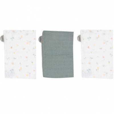 Lot de 3 gants de toilette en mousseline Tropical Island Luma Babycare