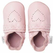 Chaussons bébé cuir Soft soles coeur pointillés rose (9-15 mois)  par Bobux