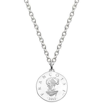 Collier chaîne 80 cm médaille Francois 1er 37 mm recto verso (argent rhodié 900°)  par Monnaie de Paris
