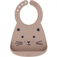 Bavoir silicone à poche Chat taupe