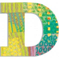 Lettre D en bois Paon