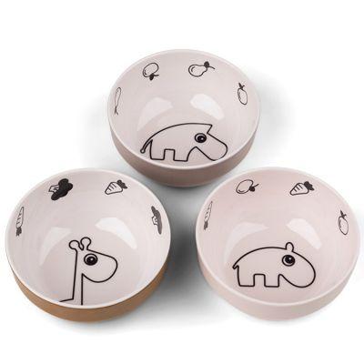 Lot de 3 bols Deer friends rose et jaune Yummy mini  par Done by Deer