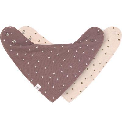 Lot de 2 bavoirs bandanas rose et cannelle