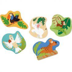 Lot de 5 petits puzzles Jungle (3 à 8 pièces)